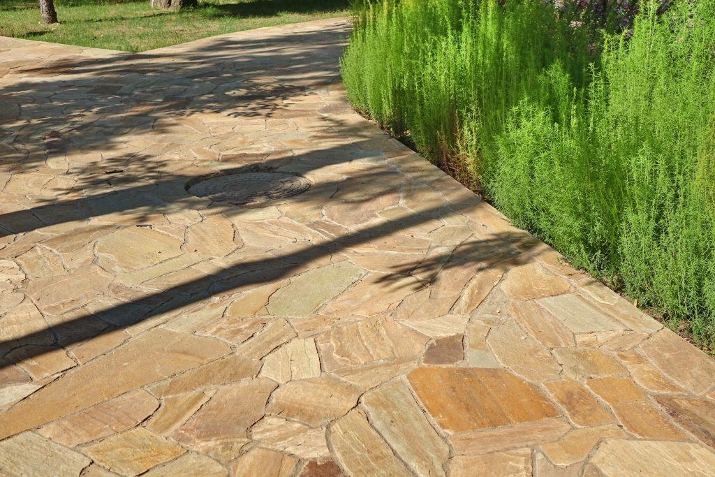 garden path made of limestone slabs