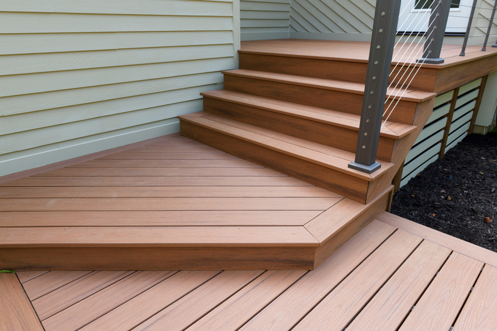 a walkway made with composite decking